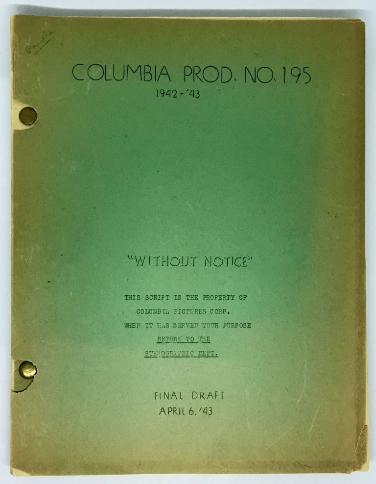 [SCREENPLAY] My Kingdom For a Cook [Without Notice]; Original Screenplay for the 1943 film. Richard Wallace, Lily Hatvany Harold Goldman, Andrew Solt, Joseph Hoffman, Jack Henley, Marguerite Chapman Charles Coburn, Isobel Elsom, Bill Carter, director, screenwriters, starring.
