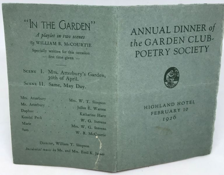 [MENU] Annual Dinner of the Garden Club-Poetry Society; Highland Hotel