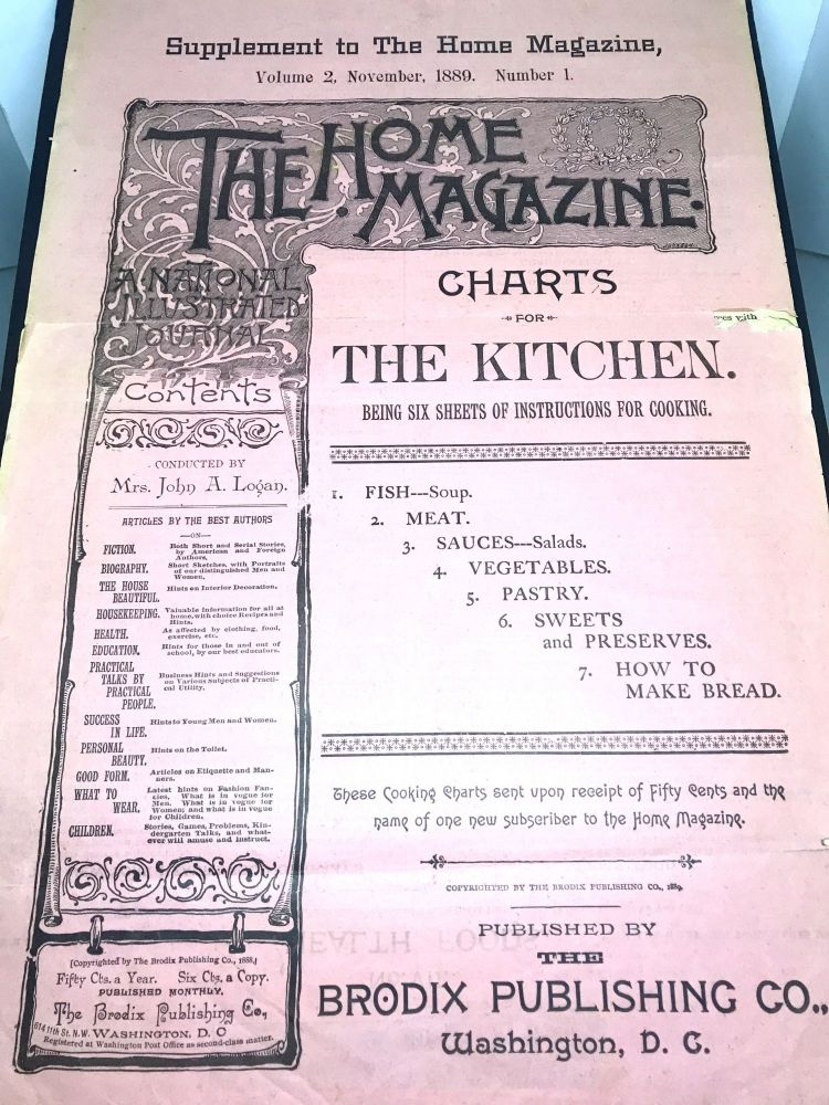THE HOME MAGAZINE - (Supplement to The Home Magazine); Charts For The Kitchen - Volume 2, November, 1889. Number 1. Mrs. John A. Logan.