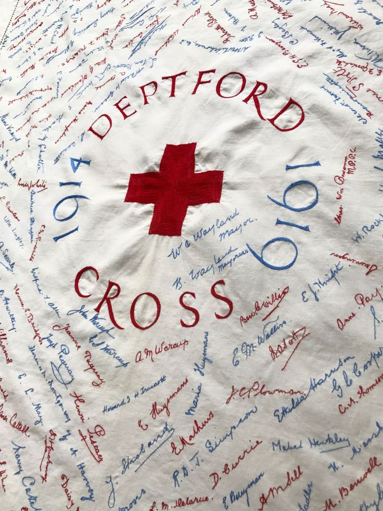 [WWI] [RED CROSS] [NURSING] 1914 - 1919 Deptford Red Cross; Cotton Commemorative Embroidered Tablecloth. Kate Parry Warcup.
