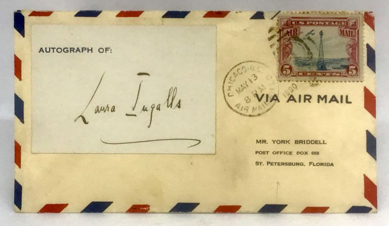 [AVIATION] [WOMEN] [AUTOGRAPH] Autograph Card of Pilot Laura Ingalls Affixed to Envelope; with Contemporary Newsclipping. Laura Ingalls.