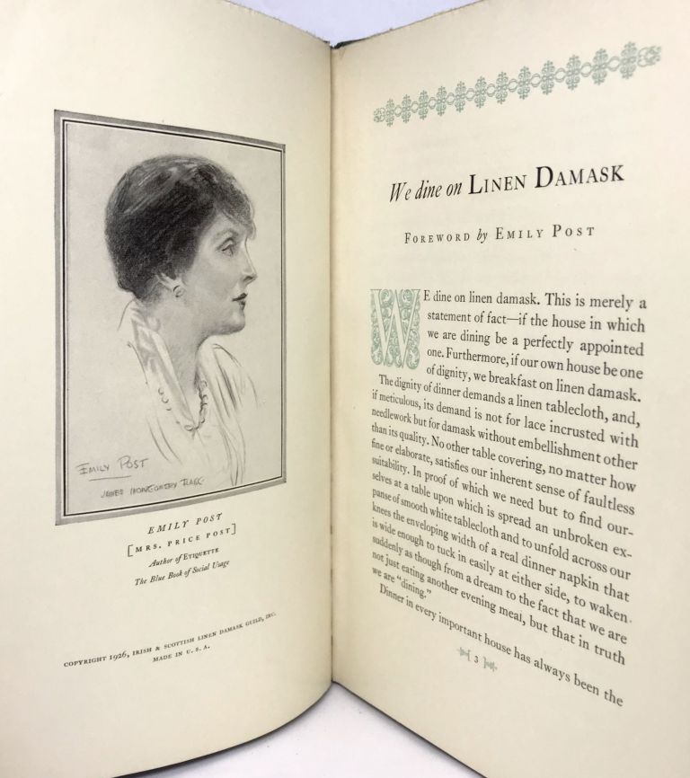 We Dine on Linen Damask; with a Forward by Emily Post. Irish, Scottish Linen Damask Guild Inc.