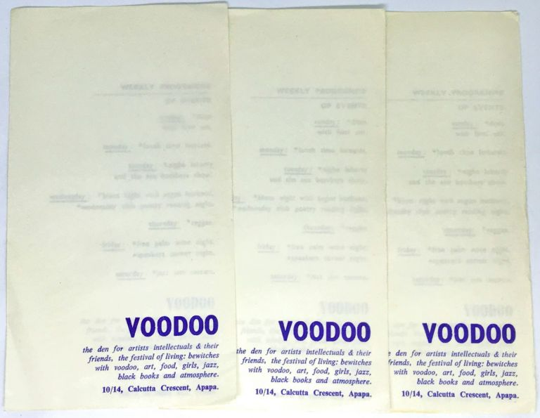 [CLUB PROGRAM] VOODOO; the den for artists intellectuals & their friends, the festival of living: bewitches with voodoo, art, food, girls, jazz, black books and atmosphere