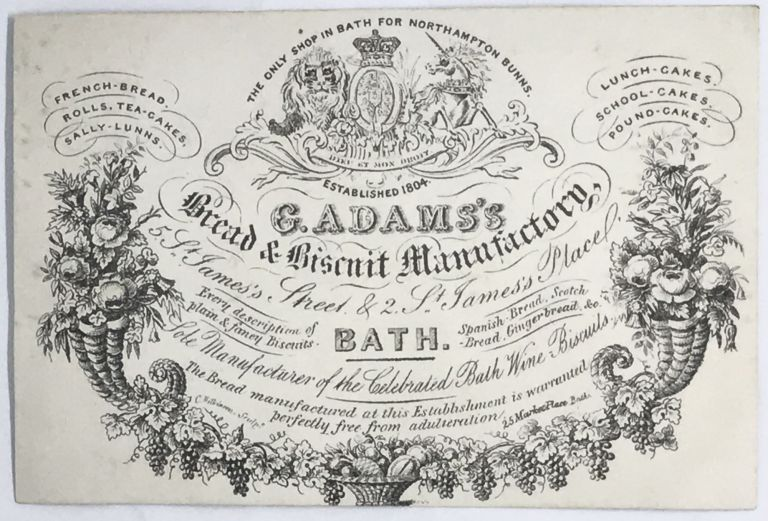 [TRADE CARD] G. Adams's Bread & Biscuit Manufactory; 5 St. James's, Street & 2 St. James's Place