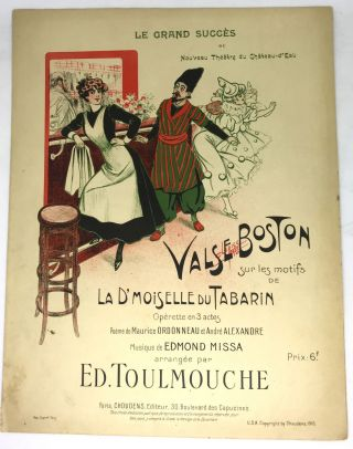 SHEET MUSIC] Valse Boston (Boston Waltz); Operette en 3 actes. Edmond Missa, Music