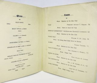 [MENU] Annual Dinner of The Yale Alumni Association of Hartford at The Allyn House; Friday Evening, January 26th, 1900