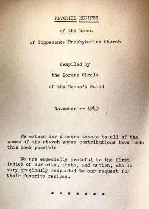 [COMMUNITY COOKBOOK] Favorite Recipes; of the Women of Tippecanoe Presbyterian Church