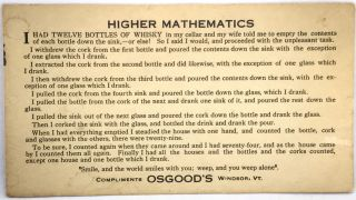 HUMOR] [COCKTAILS] Higher Mathematics; Compliments OSGOOD'S Windsor, VT