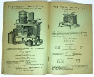 STOVES] [TRADE CATALOG] Illustrated Price List of Ships' Galley Ranges, Cabooses, Yacht, Boat and...
