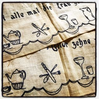 [EMBROIDERY] [DOMESTIC] Embroidered table runners or possibly edgings for drapes or curtains; with Cookery motifs. Anon.