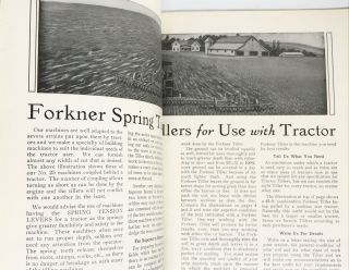 [FARMING] [TRADE CATALOG] Forkner Spring Tooth Tillers; For Orchard and Farm - Catalog E