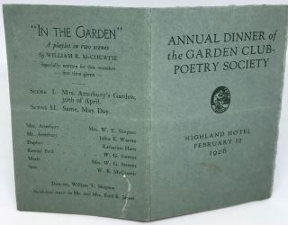 MENU] Annual Dinner of the Garden Club-Poetry Society; Highland Hotel