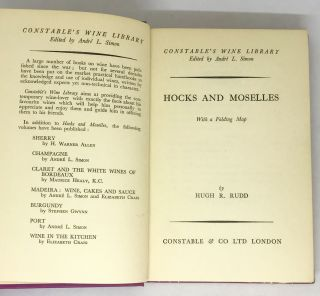 WINE] Hocks and Moselles; With a Folding Map. Hugh R. Rudd