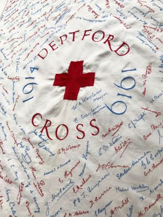 WWI] [RED CROSS] [NURSING] 1914 - 1919 Deptford Red Cross; Cotton Commemorative Embroidered...