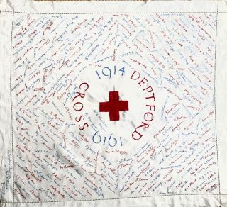 [WWI] [RED CROSS] [NURSING] 1914 - 1919 Deptford Red Cross; Cotton Commemorative Embroidered Tablecloth