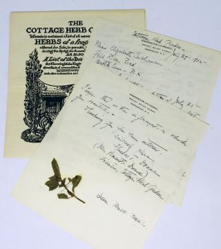 CORRESPONDENCE] [HERBS] [WASHINGTON D.C.] The Cottage Herb Garden. Florence T. Drane