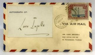 AVIATION] [WOMEN] [AUTOGRAPH] Autograph Card of Pilot Laura Ingalls Affixed to Envelope; with...