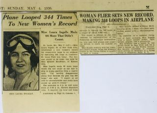 [AVIATION] [WOMEN] [AUTOGRAPH] Autograph Card of Pilot Laura Ingalls Affixed to Envelope; with Contemporary Newsclipping
