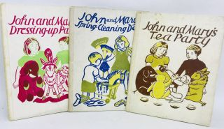 Collection of Three English Children's Books - John and Mary; Illustrations by E.L. Turner. E....