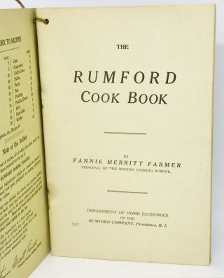 The Rumford Cook Book. Fannie Merritt Farmer