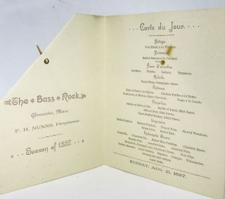 [MENU] The Bass Rock; F. H. Nunns, Proprietor - Season of 1887 -