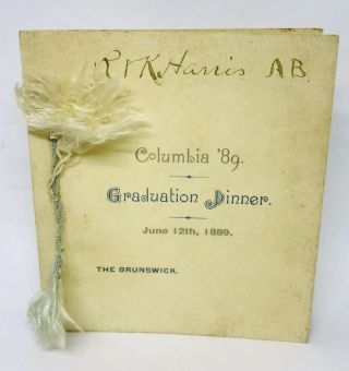 MENU] [LAW] Columbia '89 Graduation Dinner; June 12th, 1889 - THE BRUNSWICK