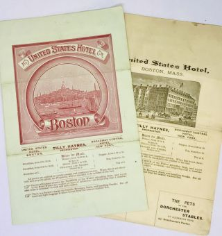 MENU] United States Hotel Boston; Breakfast & Dinner. Tilly Haynes, Proprietor