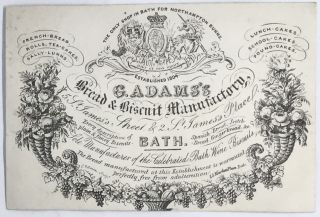 TRADE CARD] G. Adams's Bread & Biscuit Manufactory; 5 St. James's, Street & 2 St. James's Place