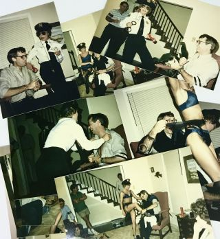 "VERNACULAR PHOTOS] Undercover ""Police Officer"" putting on a show; ""Over The Hill"" Party"