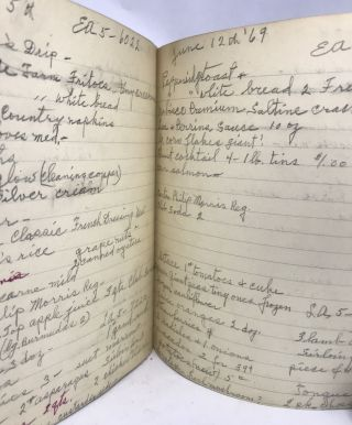 [HANDWRITTEN] [DOMESTIC] Composition Book of Grocery Lists from Late 60's