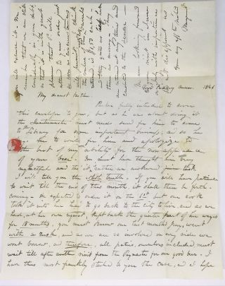 [WEST POINT] [BEER] Letter to Brother re: missing Beer; Wife of Civil War Brigadier General Eliakim Parker Scammon